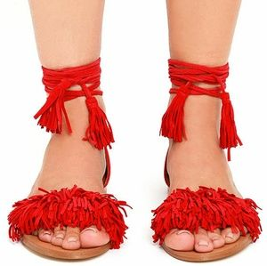 Steve Madden Sweetyy red suede sandals
